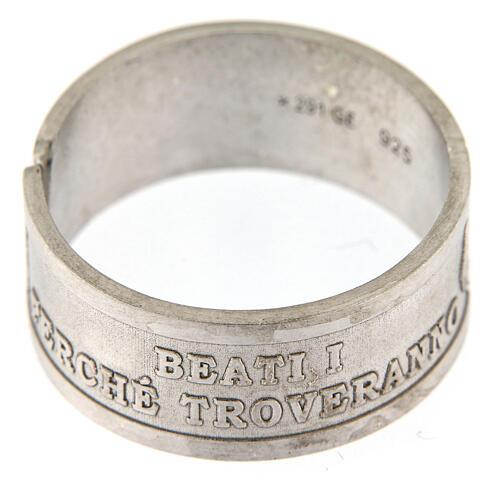 Anello argento 925 Beati i Misericordiosi regolabile 2