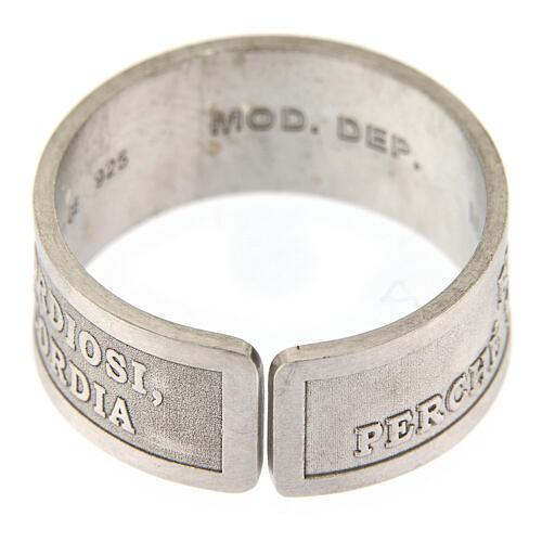 Anello argento 925 Beati i Misericordiosi regolabile 4