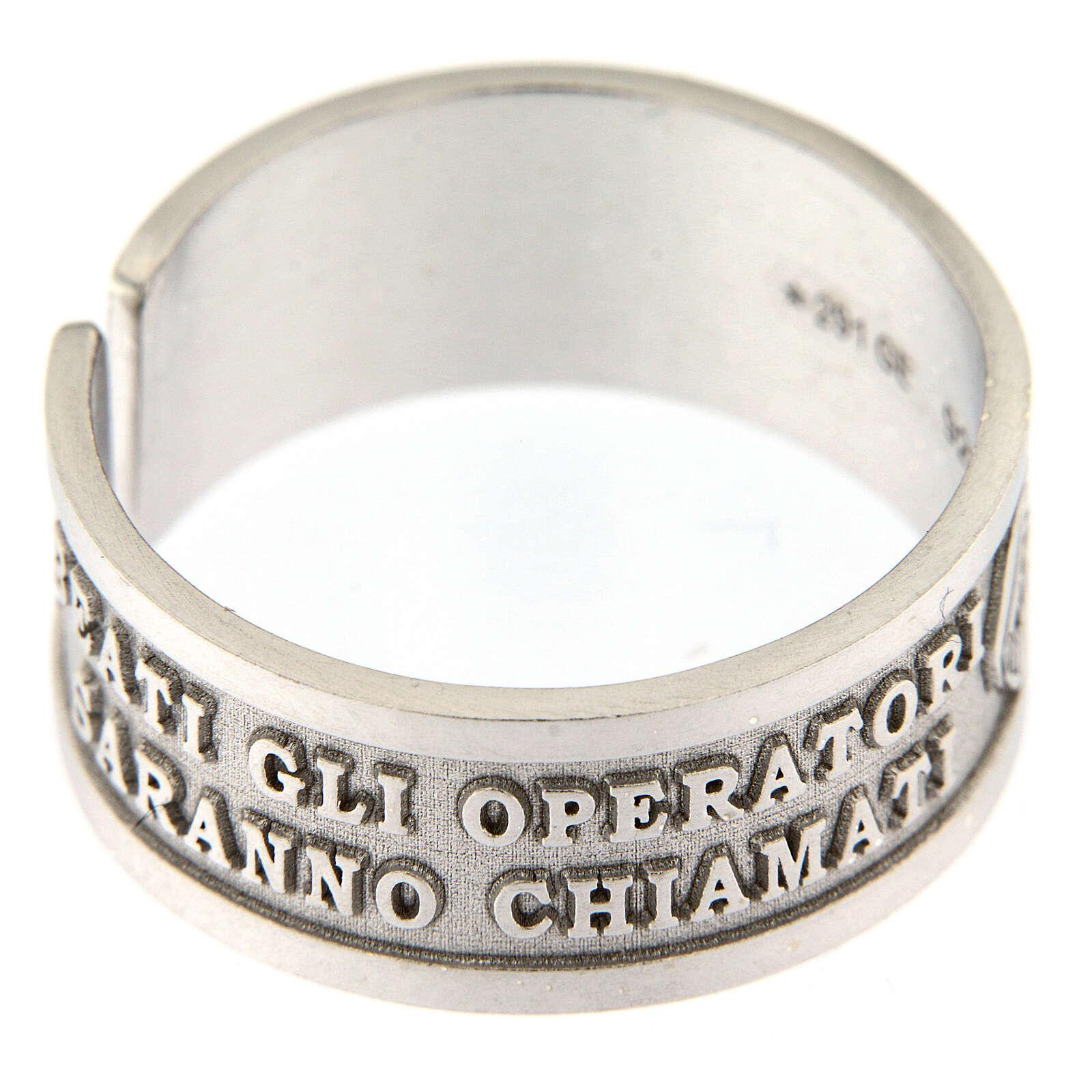 Anello argento 925 Beati gli Operatori di Pace con apertura 3
