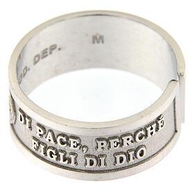 Anello argento 925 Beati gli Operatori di Pace con apertura s3