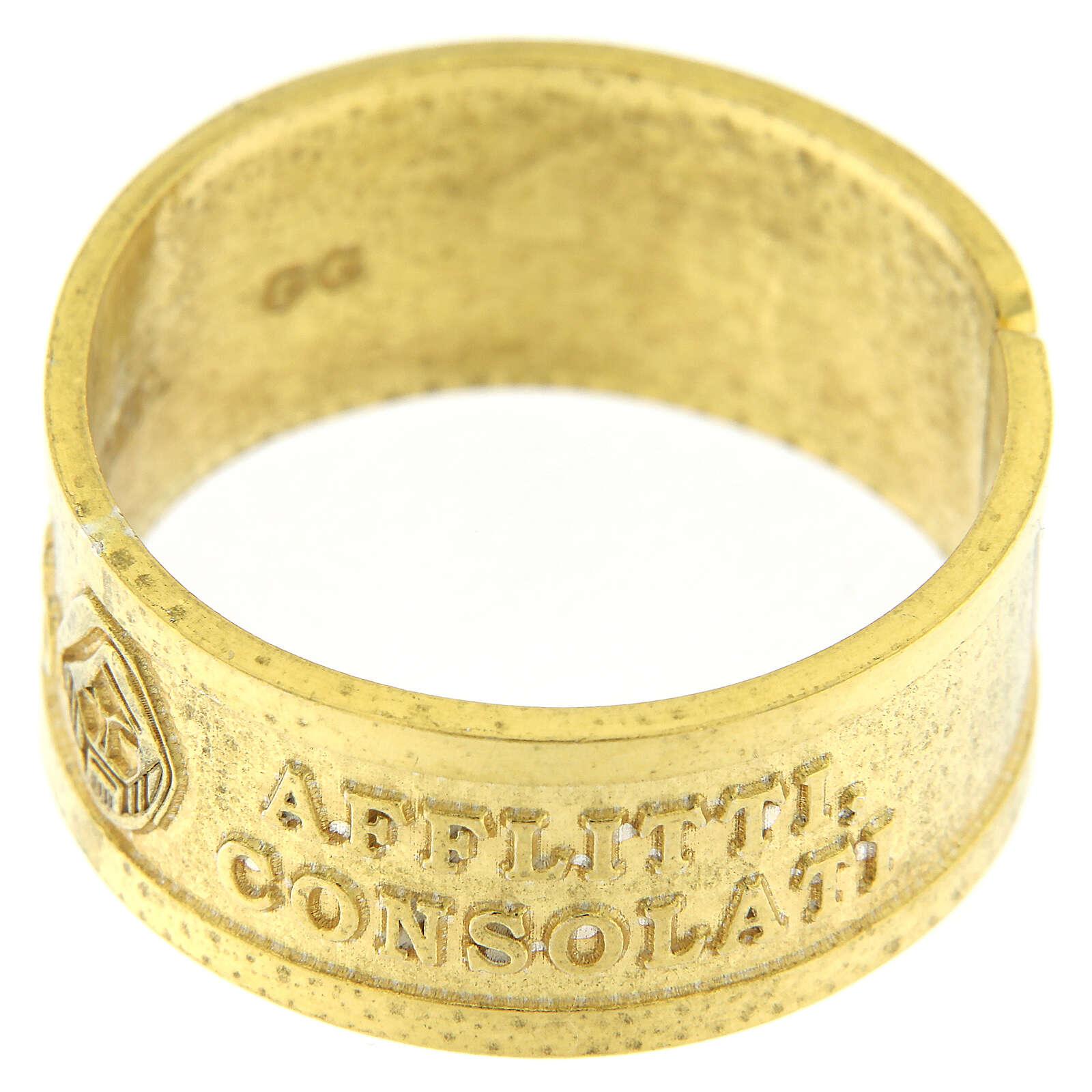 Anillo plata sterling dorada Beati gli Afflitti abierto 3