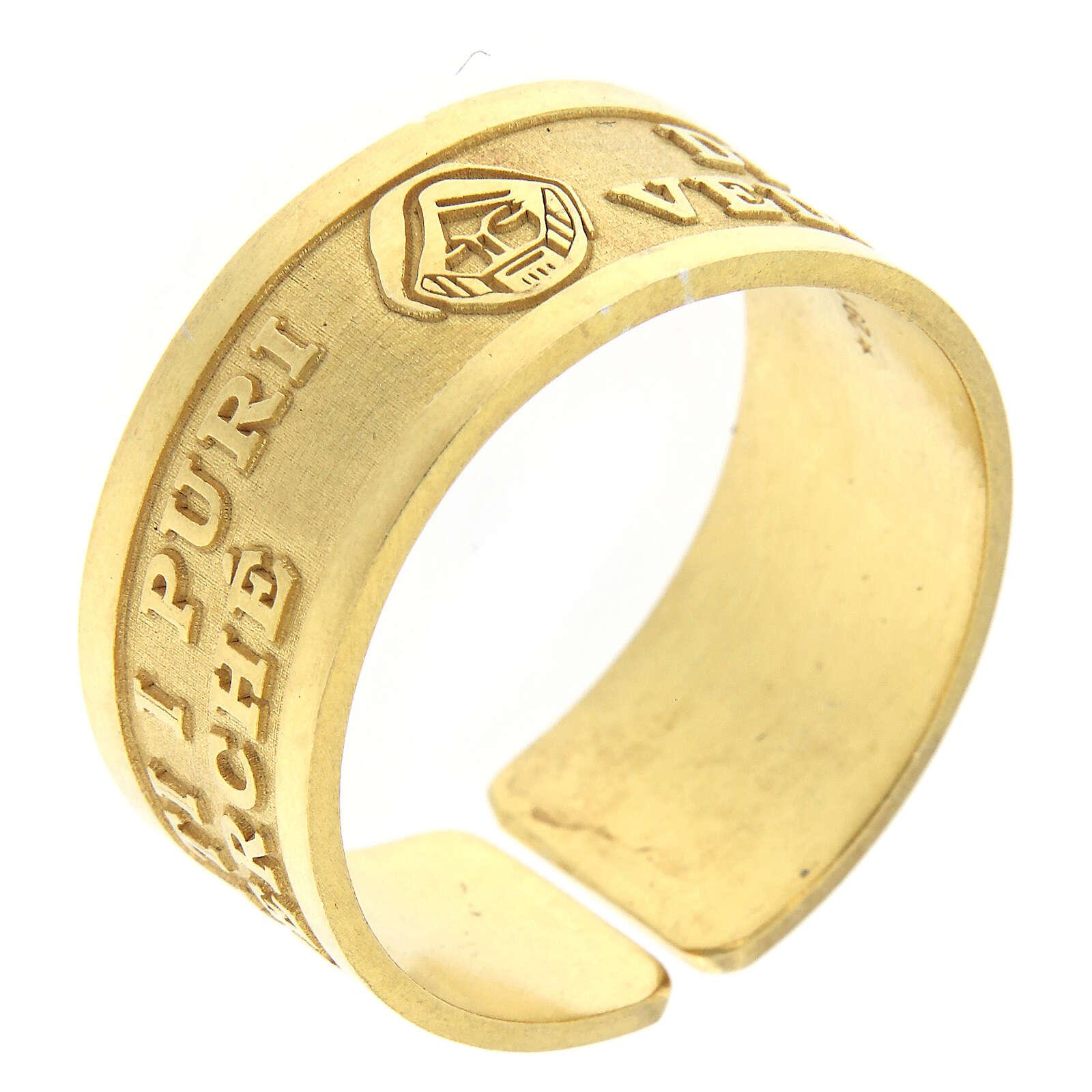Anello Beatitudini argento 925 dorato Beati i Puri di Cuore 3