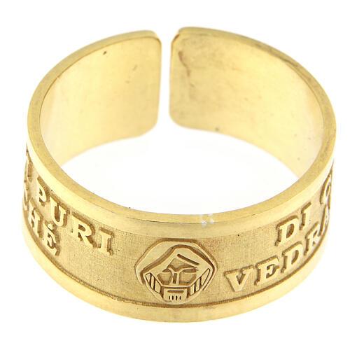Anello Beatitudini argento 925 dorato Beati i Puri di Cuore 2