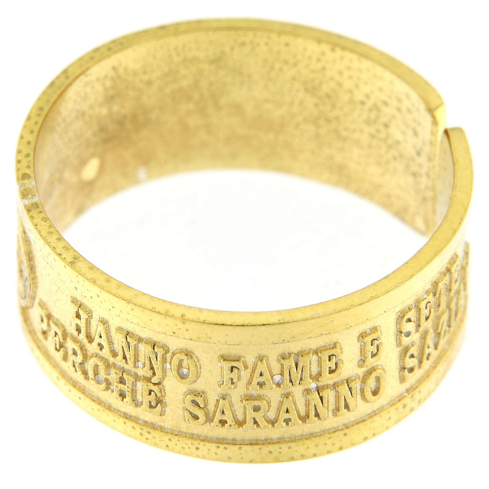 Anillo Fame y Sete di Giustizia plata 925 dorada con apertura 3