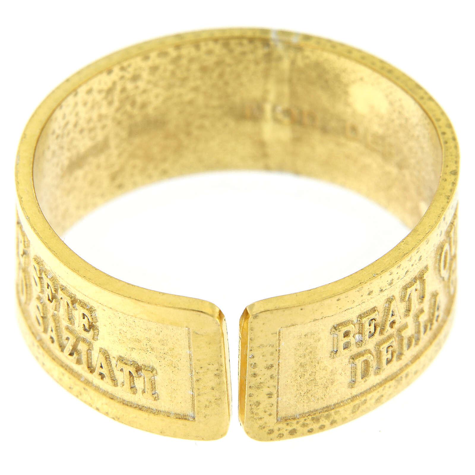 Anello Fame e Sete di Giustizia argento 925 dorato con apertura 3
