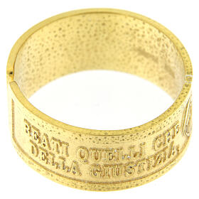 Anello Fame e Sete di Giustizia argento 925 dorato con apertura s2