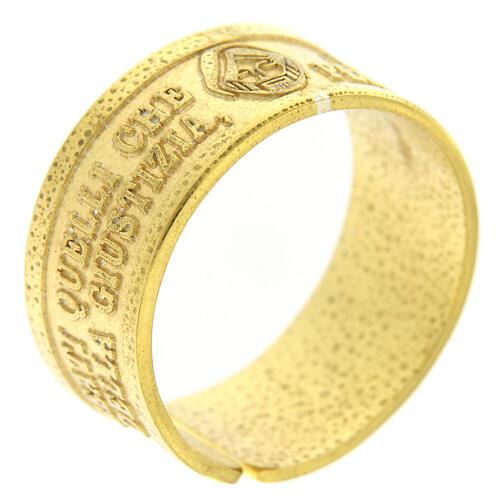 Anello Fame e Sete di Giustizia argento 925 dorato con apertura 1