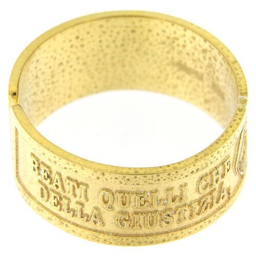 Anello Fame e Sete di Giustizia argento 925 dorato con apertura 2