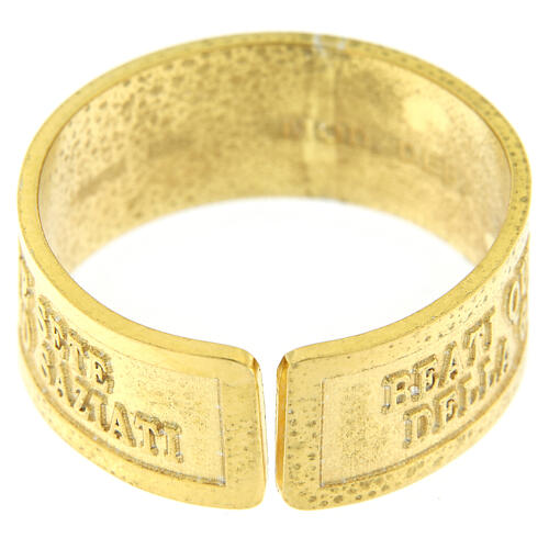 Anello Fame e Sete di Giustizia argento 925 dorato con apertura 4