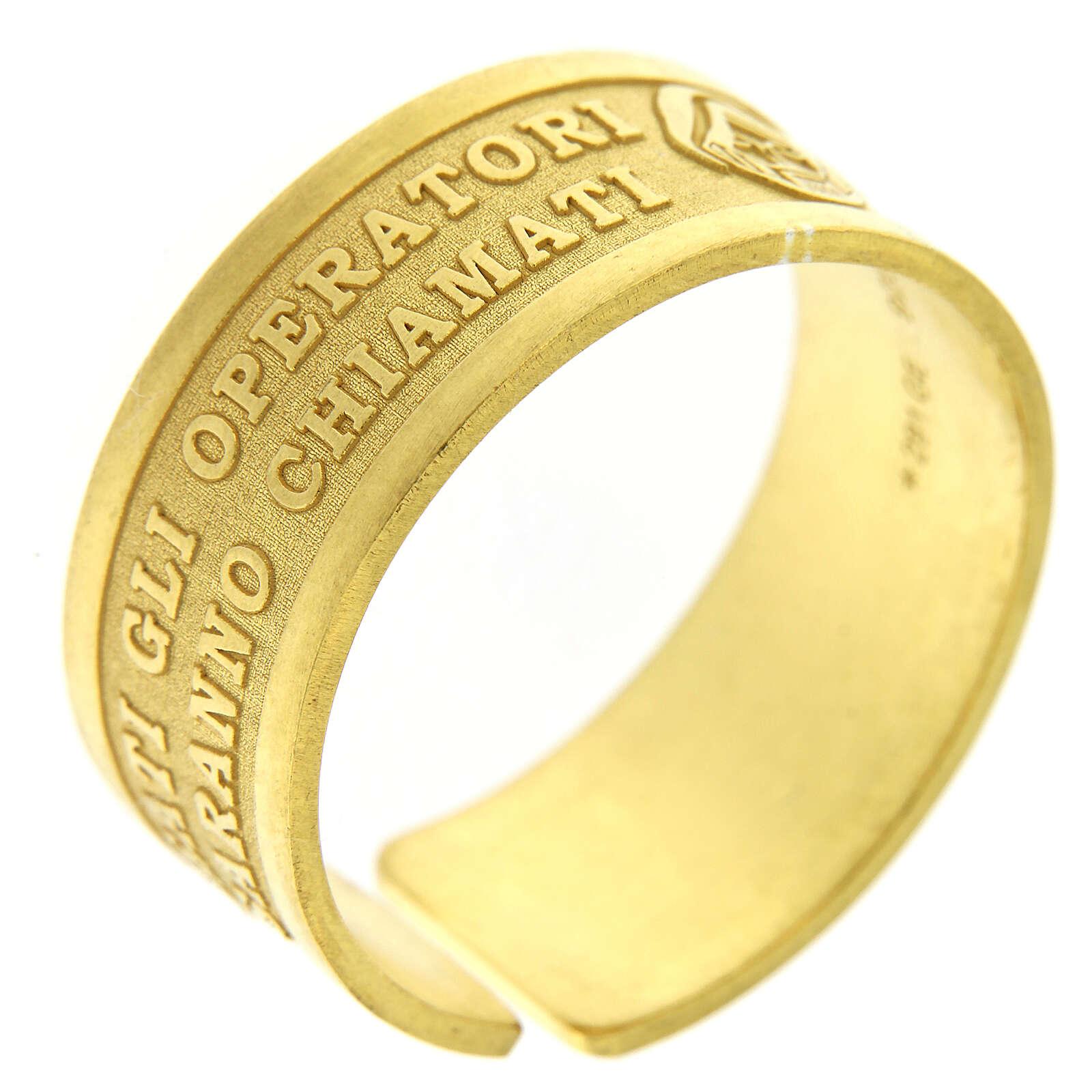 Anillo plata dorada sterling Beati gli Operatori di Pace 3
