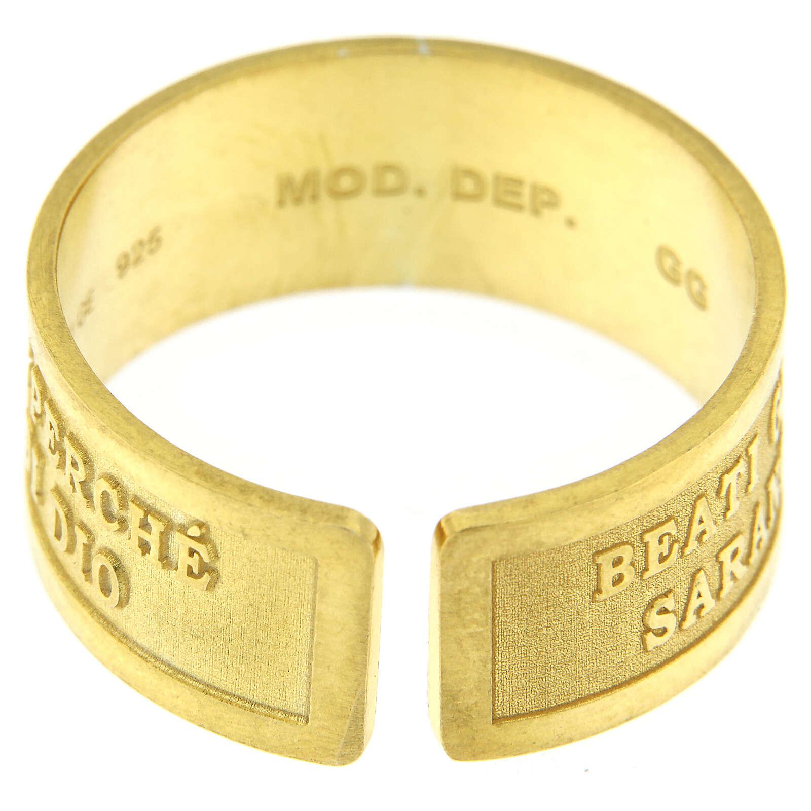 Anello argento dorato sterling Beati gli Operatori di Pace 3
