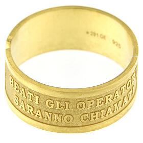 Anello argento dorato sterling Beati gli Operatori di Pace s2