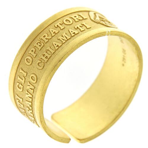 Anello argento dorato sterling Beati gli Operatori di Pace 1
