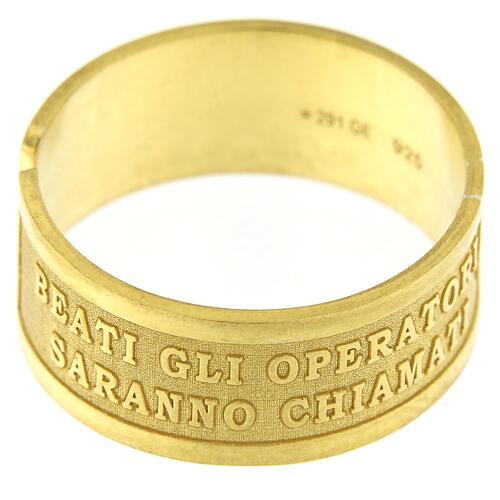Anello argento dorato sterling Beati gli Operatori di Pace 2