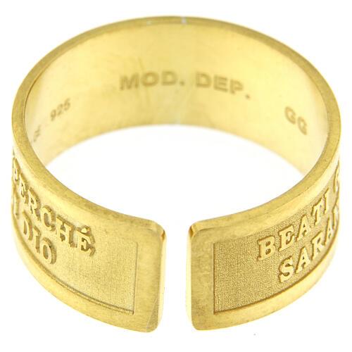 Anello argento dorato sterling Beati gli Operatori di Pace 4