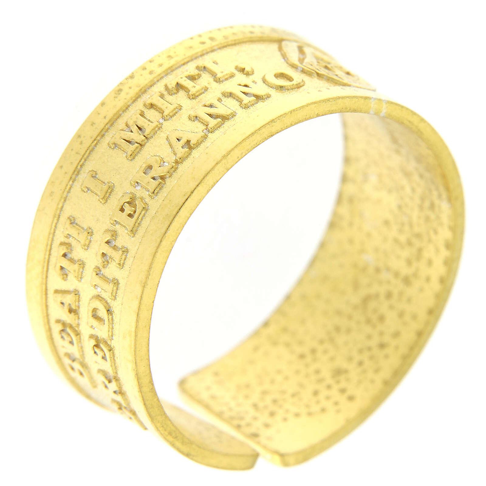 Bague réglable Heureux les humbles de coeur argent 925 doré 3