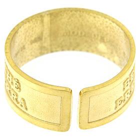 Bague réglable Heureux les humbles de coeur argent 925 doré s4