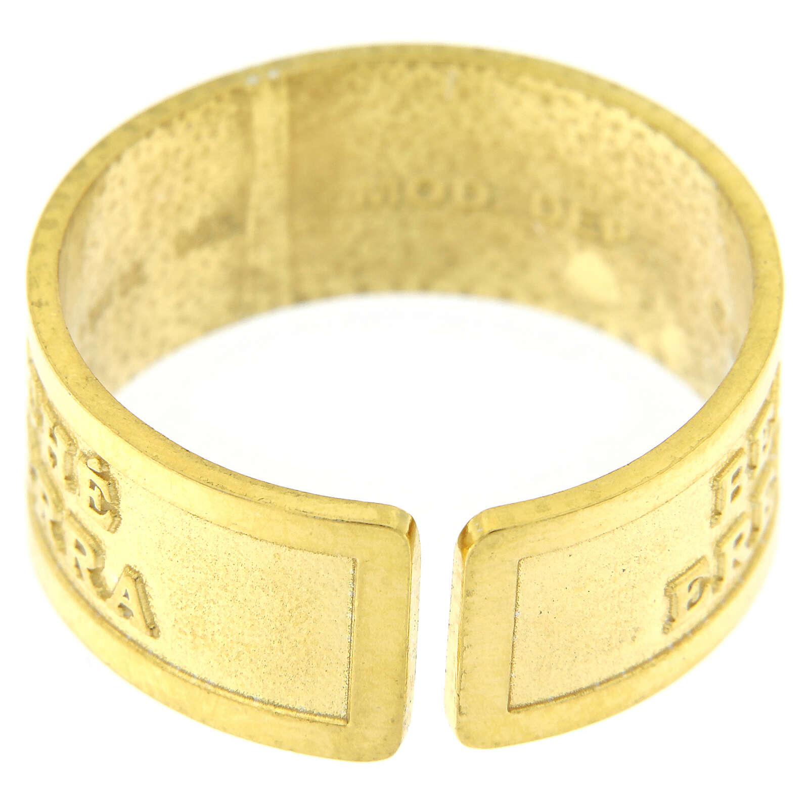 Anello regolabile Beati i Miti argento 925 dorato 3