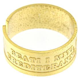 Anello regolabile Beati i Miti argento 925 dorato s2