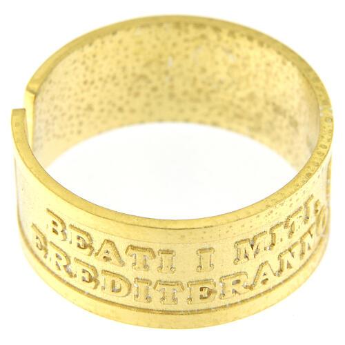 Anello regolabile Beati i Miti argento 925 dorato 2
