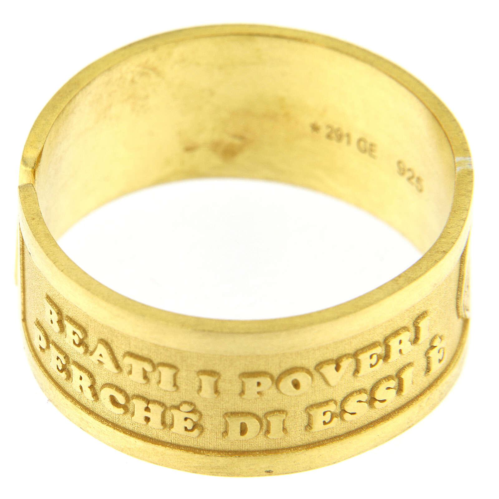 Anello dorato Beati i Poveri in Spirito argento 925 regolabile 3