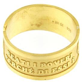 Anello dorato Beati i Poveri in Spirito argento 925 regolabile s2
