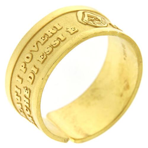 Anello dorato Beati i Poveri in Spirito argento 925 regolabile 1