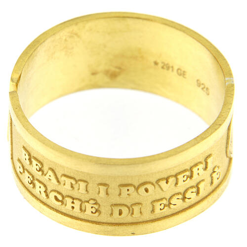 Anello dorato Beati i Poveri in Spirito argento 925 regolabile 2