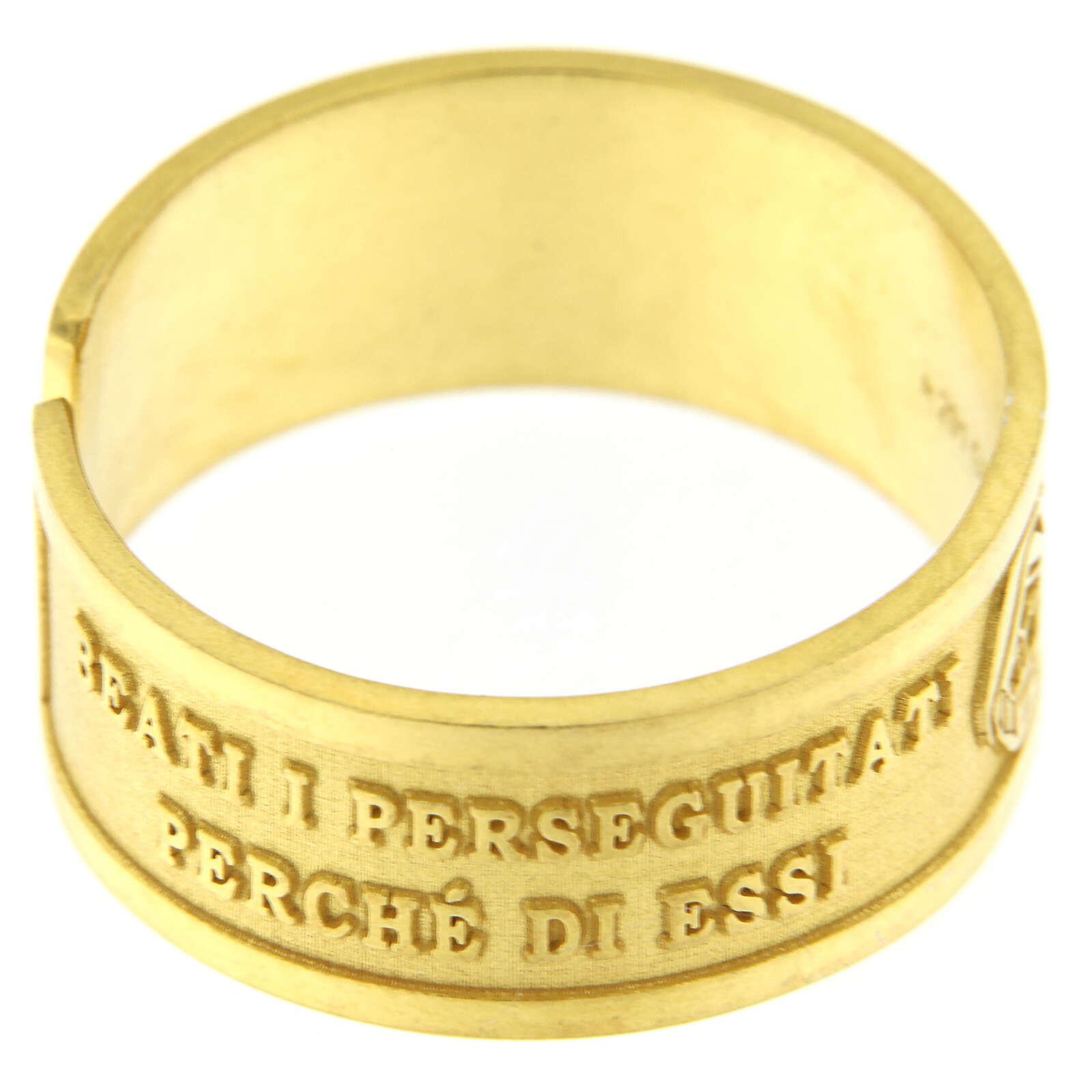Bague Heureux les Persécutés argent 925 doré ouverture 3