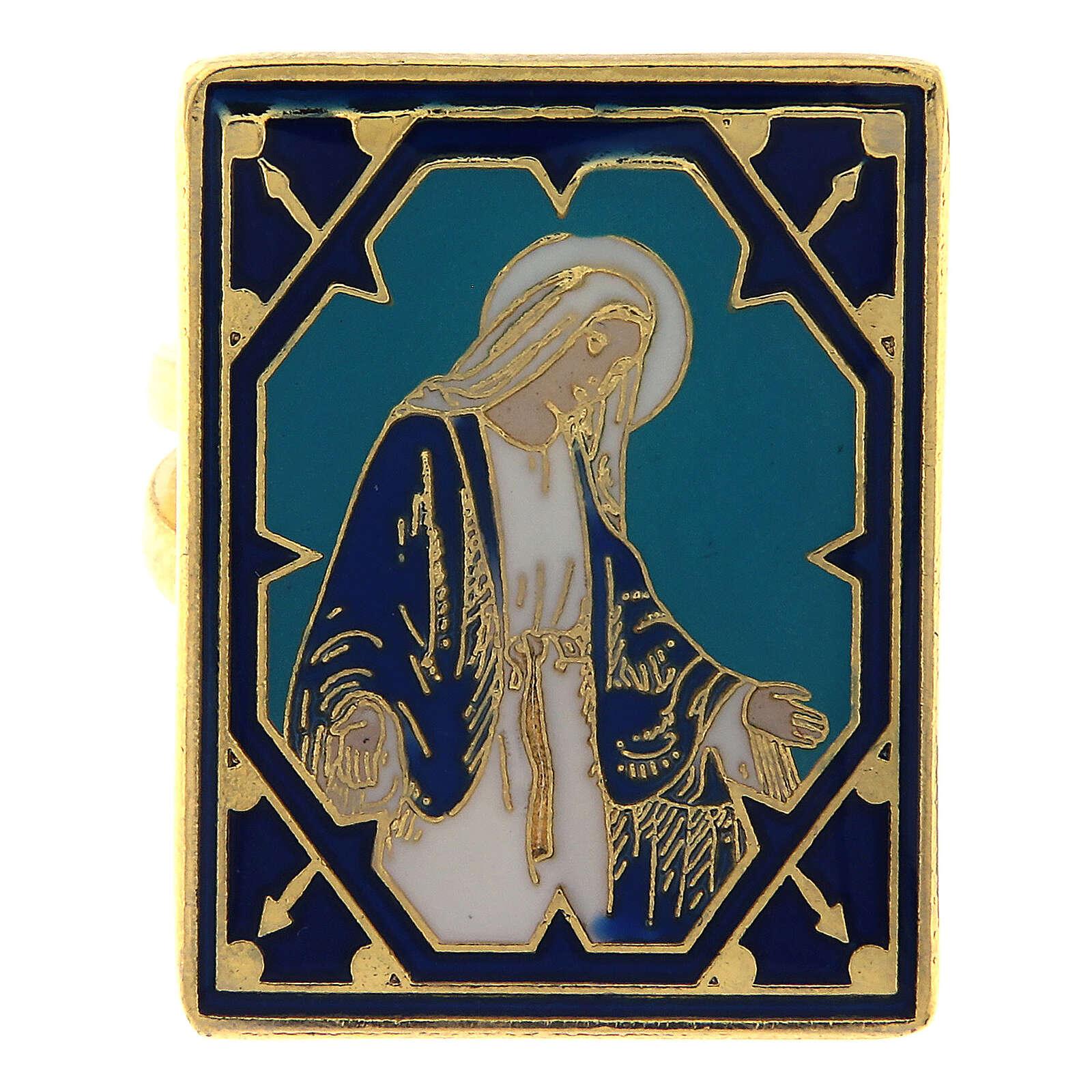Anello dorato Madonna Miracolosa smaltata 3