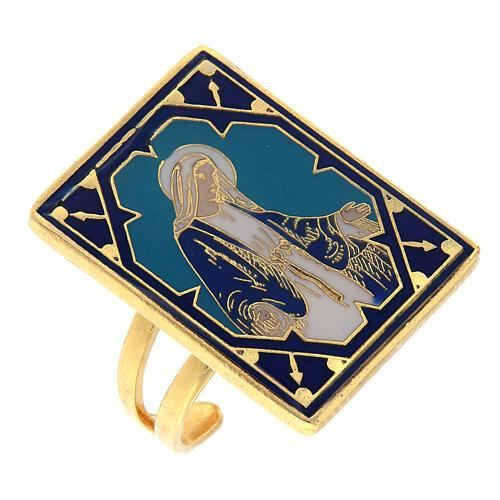 Anello dorato Madonna Miracolosa smaltata 1