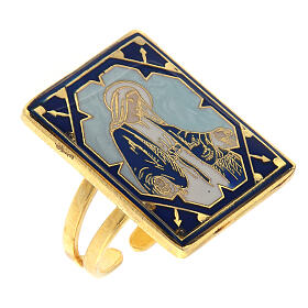 Anel Medalha Milagrosa esmalte azul regulável