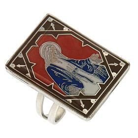 Anel regulável Medalha Milagrosa esmalte vermelho prateado