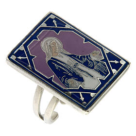 Anel regulável Medalha Milagrosa esmalte lilás prateado