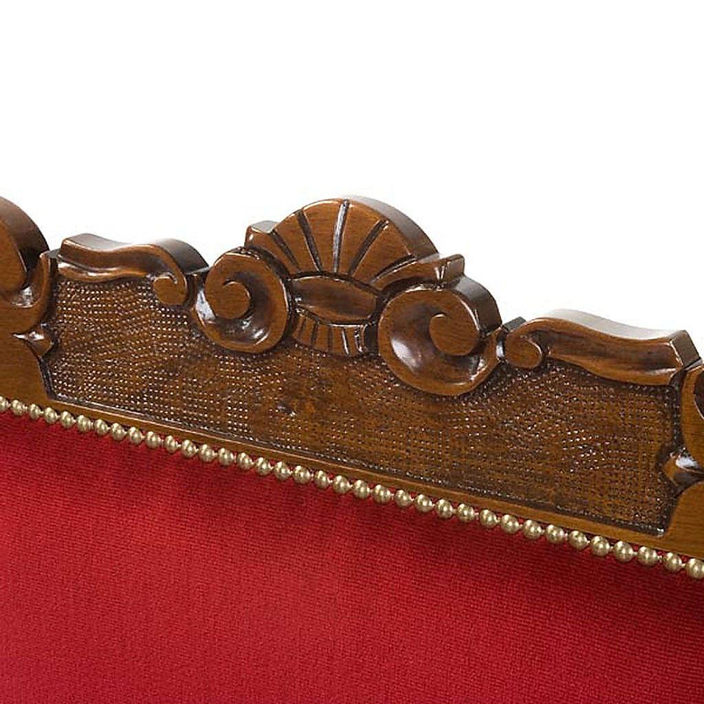 Fauteuil baroque sacristie bois de noyer velours 4