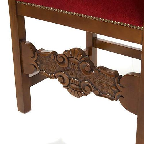 Fauteuil baroque sacristie bois de noyer velours 3