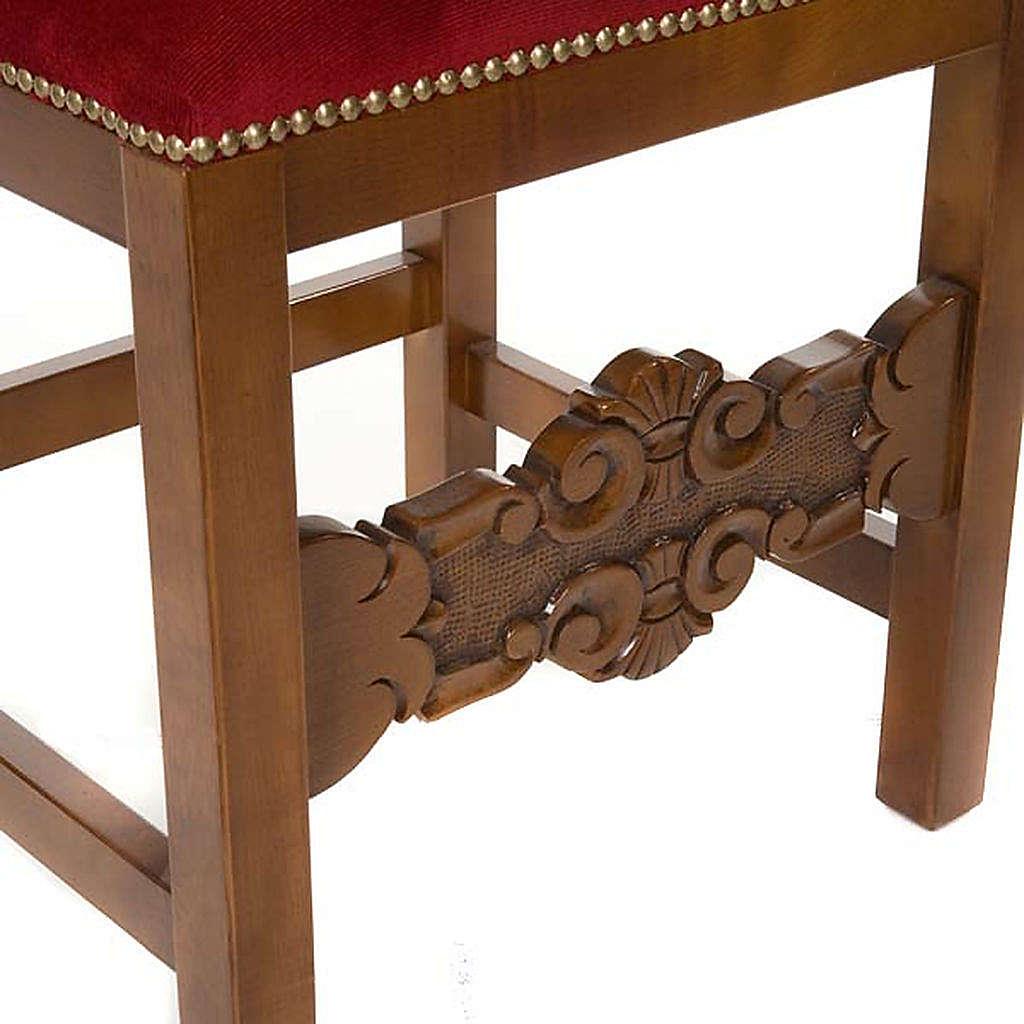 Sedia barocca sagrestia legno noce velluto 4