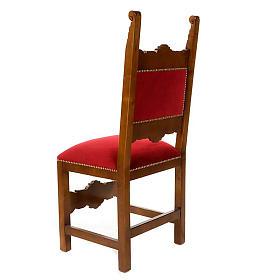 Sedia barocca sagrestia legno noce velluto s2