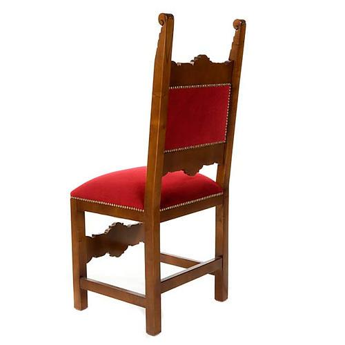 Sedia barocca sagrestia legno noce velluto 2