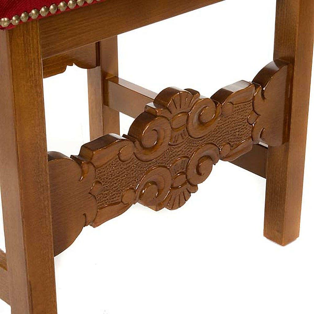 Sgabello barocco sagrestia legno noce velluto 4