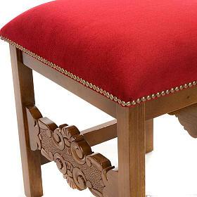 Sgabello barocco sagrestia legno noce velluto s2
