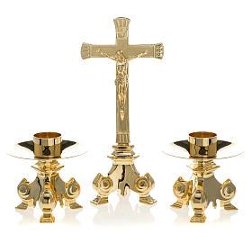 Messing Altargarnitur Kreuz und Kerzenleuchter s1