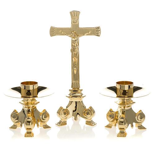 Messing Altargarnitur Kreuz und Kerzenleuchter 1