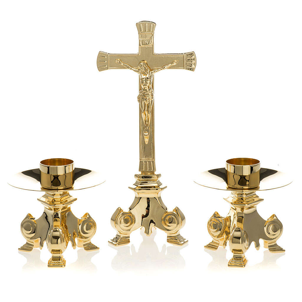 Altar crucifix and candle holder set in gold-plated brass 4