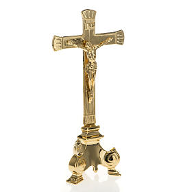 Altar crucifix and candle holder set in gold-plated brass s4