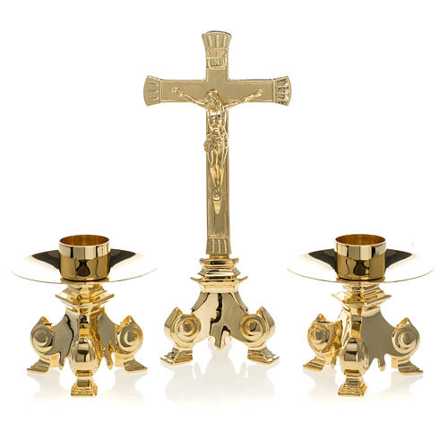 Altar crucifix and candle holder set in gold-plated brass 1