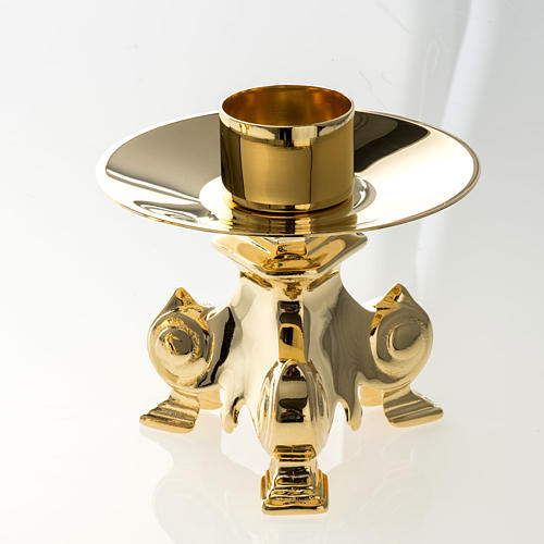 Altar crucifix and candle holder set in gold-plated brass 2