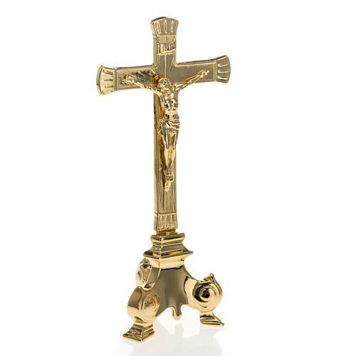Cruz y candelabros para altar completo de latón 4