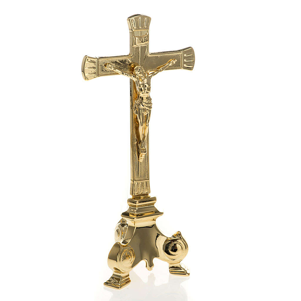 Gold-plated altar set, crucifix and candle holder<br> 4