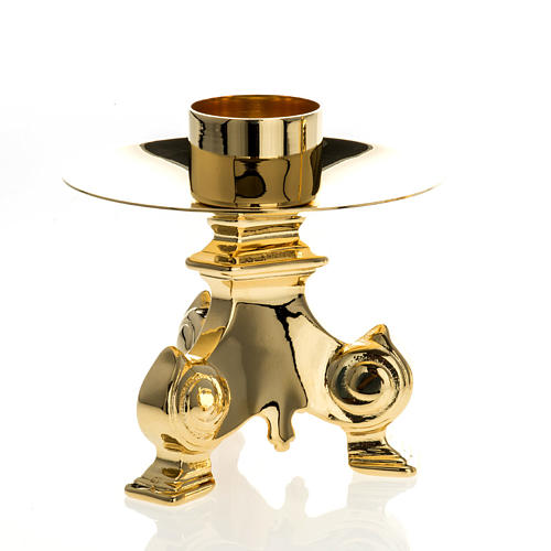 Gold-plated altar set, crucifix and candle holder<br> 3